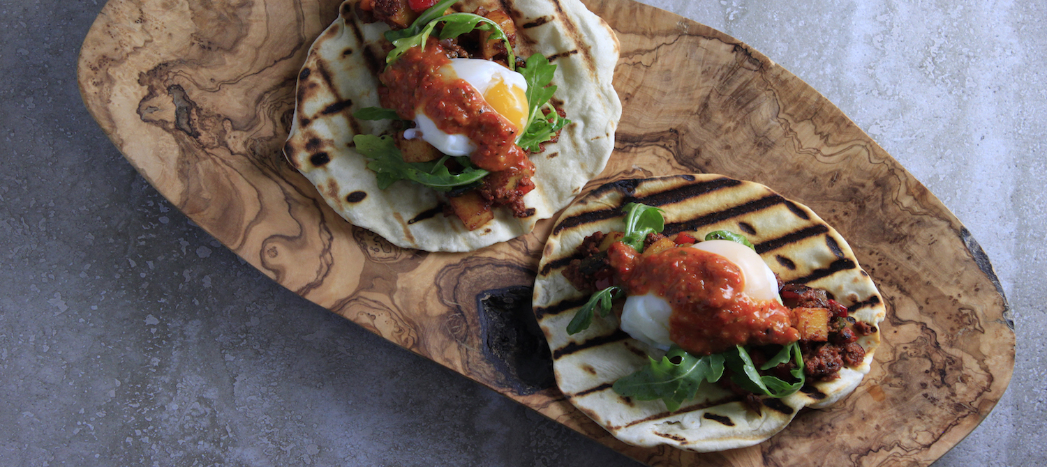 Chorizo Hash and Harissa Breakfast Flatbreads made with Fire Roasted Harissa Sauce