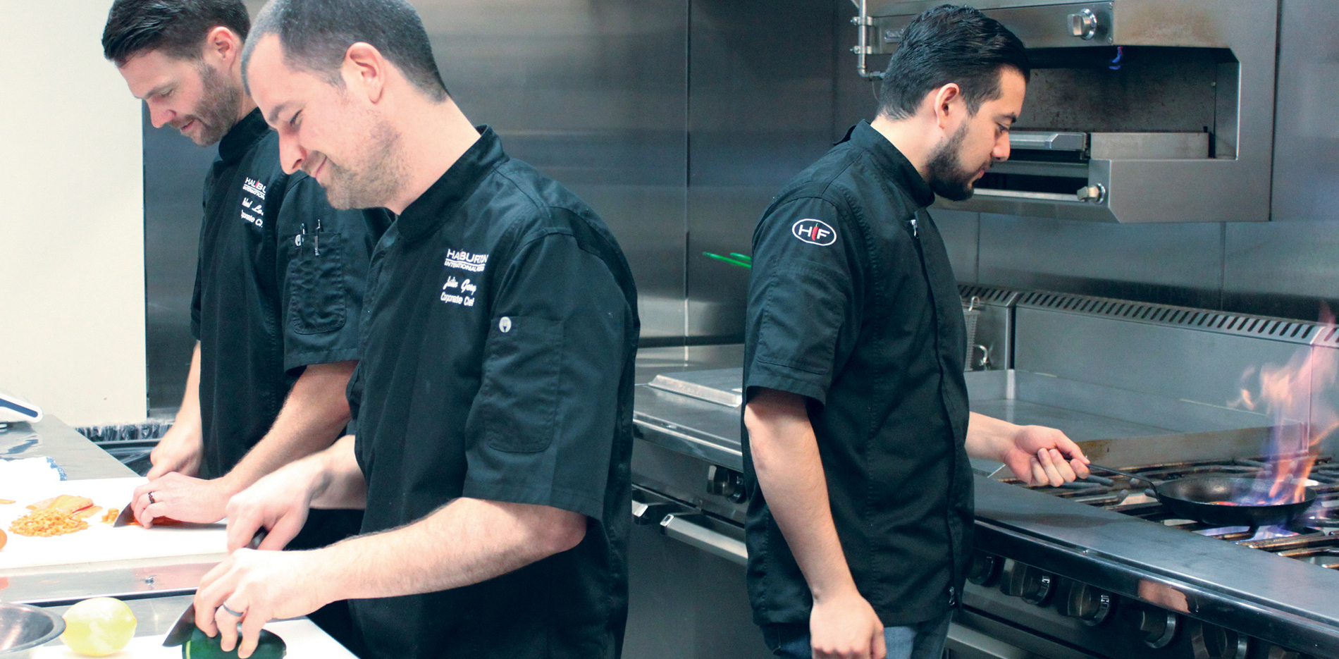 Chefs in the test kitchen producing new custom products
