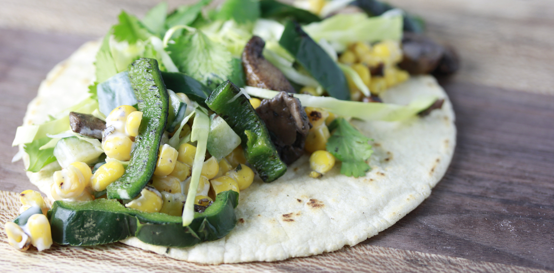 Veggie Taco made with Haliburton Fire Roasted Corn and Poblanos