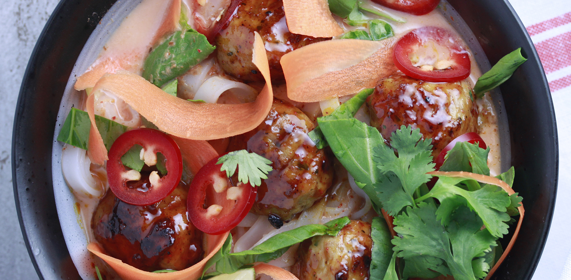 Thai Chicken Meatballs featuring Haliburton Thai chile glazed chicken meatballs