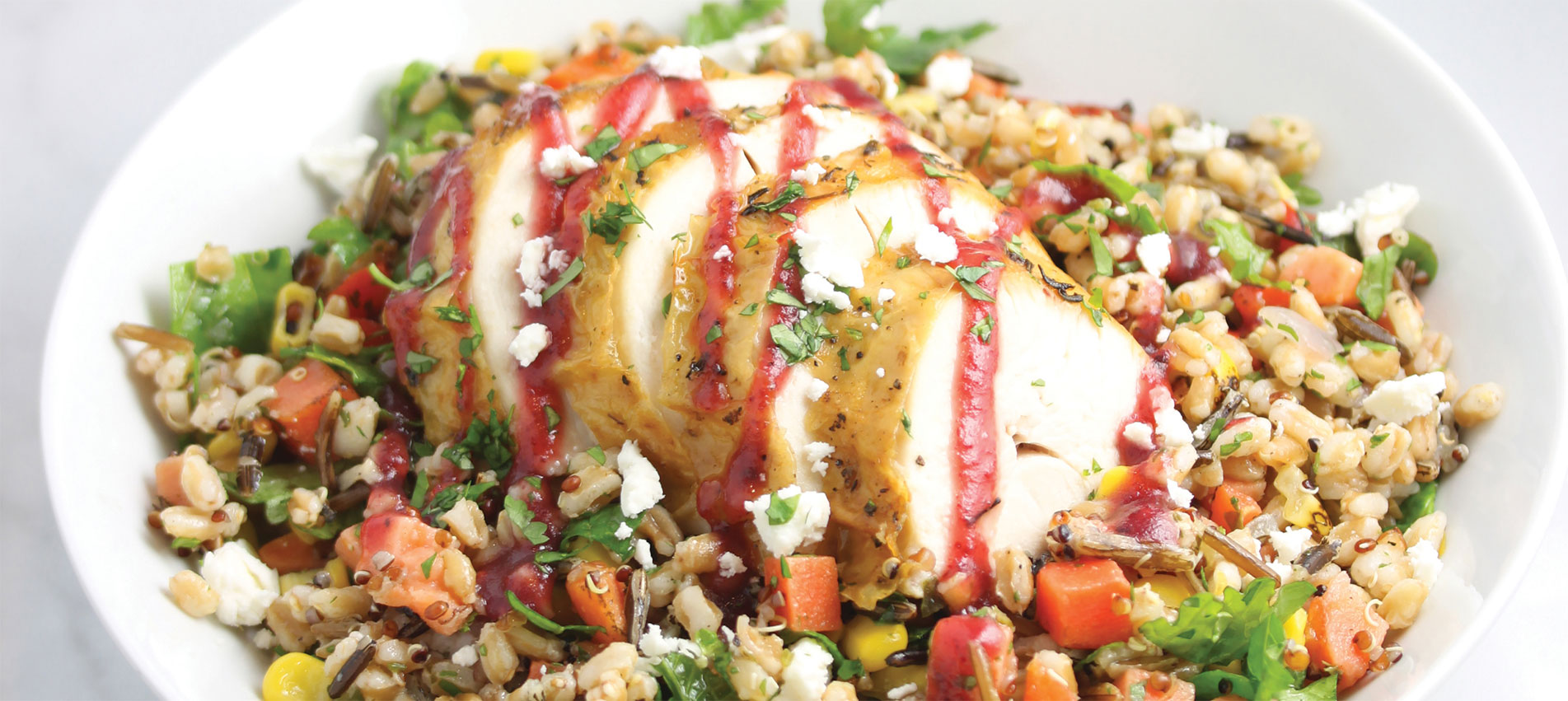 Featuring Haliburton's thaw and serve blend of farro, quinoa, sweet potato, wild rice, corn and red bell peppers