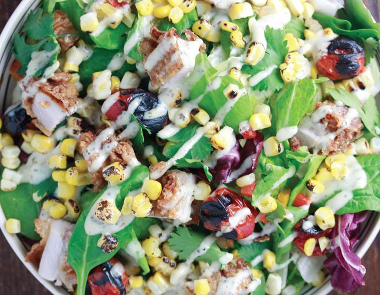 Fire Roasted Corn & Crispy Chicken Salad