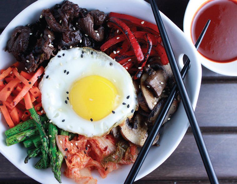 Bibimbap with Flame Roasted Red Bell Peppers