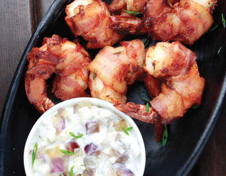 Bacon Wrapped Shrimp with Fire Roasted Red Onion Dip