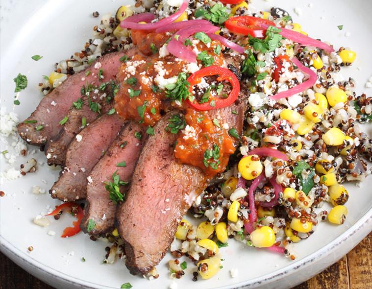 Steak, Pickled Vegetables & Southwest Grain Blend